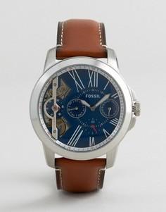 Часы со светло-коричневым кожаным ремешком Fossil ME1161 Grant - Рыжий