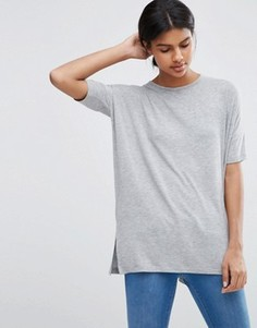Свободная футболка с драпировкой ASOS - Серый
