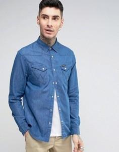 Джинсовая рубашка в стиле вестерн с длинными рукавами Wrangler - Темно-синий