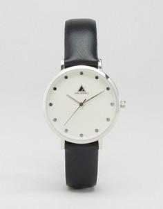 Серебристые часы с черным кожаным ремешком ASOS Premium - Черный