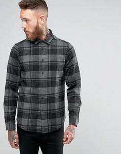 Серая рубашка классического кроя в клетку с добавлением шерсти ASOS - Серый
