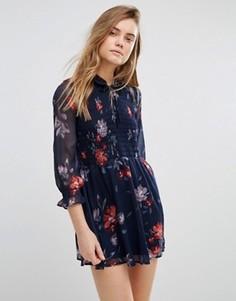 Свободное платье с завязкой у горловины и присборенной эластичной вставкой Abercrombie & Fitch - Темно-синий