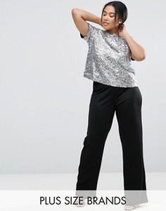 Комбинезон с прямыми штанинами и отделкой пайетками на топе Club L Plus - Серебряный