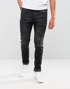Черные выбеленные джинсы слим с заплатками Jack & Jones Intelligence - Черный