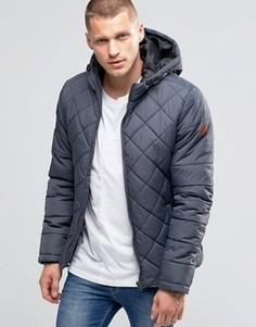 Серая стеганая куртка с капюшоном Blend - Серый