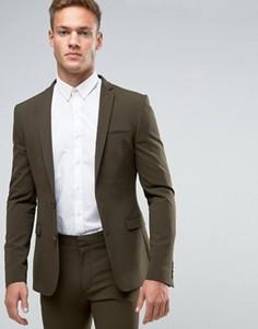 Супероблегающий пиджак цвета хаки ASOS - Зеленый