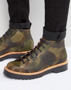 Кожаные камуфляжные ботинки производства Англии ASOS - Черный