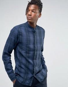 Рубашка классического кроя в клетку с воротником на пуговице Selected Homme - Темно-синий