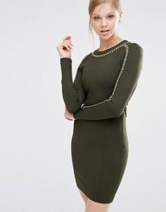 Облегающее платье с длинными рукавами и отделкой цепочкой Forever Unique Etta - Зеленый