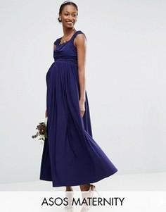 Платье миди с кружевной вставкой ASOS Maternity WEDDING - Темно-синий