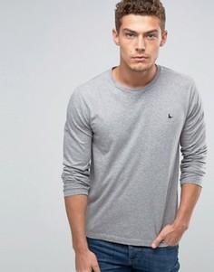 Эксклюзивный серый меланжевый лонгслив с логотипом Jack Wills - Серый