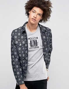 Джинсовая куртка с принтом Love Moschino - Синий