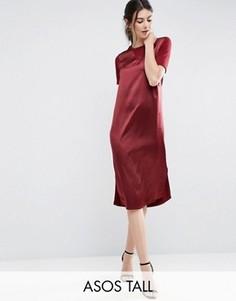 Платье-футболка миди с атласной вставкой спереди ASOS TALL - Красный
