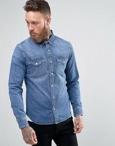 Синяя джинсовая рубашка слим в стиле вестерн Lee - Синий