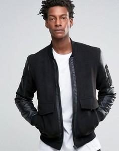 Черная куртка‑пилот со вставками из искусственной кожи ASOS - Черный
