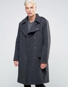Полушерстяное двубортное пальто в стиле милитари Weekday Major - Серый