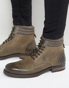 Серые кожаные ботинки на шнуровке ASOS - Серый