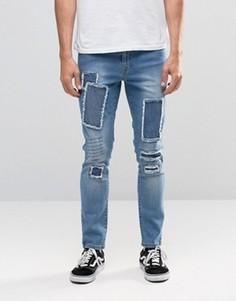 Умеренно выбеленные джинсы с заплатками Brooklyn Supply Co - Синий