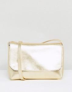 Мягкая кожаная сумка через плечо цвета металлик ASOS - Золотой