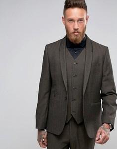 Коричневый пиджак слим в елочку с декоративным кантом ASOS - Коричневый