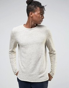 Свитшот с круглым вырезом и закругленным низом Selected Homme - Серый