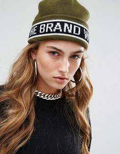 Вязаная шапка-бини с полоской и логотипом adidas Originals - Зеленый