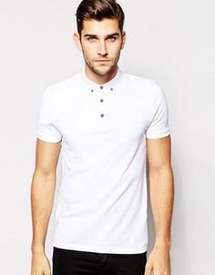 Белая футболка-поло из ткани пике с воротником на пуговицах ASOS - Белый