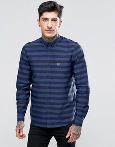 Синяя рубашка слим в широкую полоску Fred Perry - Синий