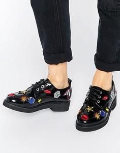 Ботинки на плоской подошве в стиле пэчворк ASOS MOON - Черный
