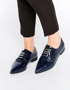 Туфли на плоской подошве со шнуровкой и острым носком ASOS MEDIA - Темно-синий