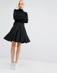 Короткая расклешенная юбка Weekday - Черный