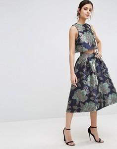 Жаккардовая юбка для выпускного с цветочным узором ASOS - Темно-синий