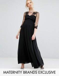 Платье макси с цветочной отделкой для беременных Chi Chi London Maternity - Черный