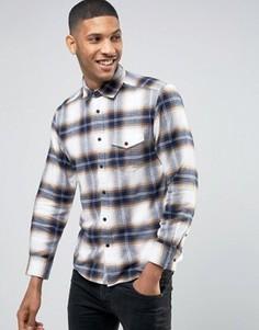 Фланелевая рубашка классического кроя в клетку с длинными рукавами Esprit - Бежевый