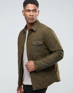 Шерстяная рубашка-куртка на стеганой подкладке Esprit - Зеленый
