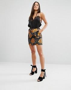 Жаккардовая трапециевидная мини-юбка с цветочным узором Missguided - Оранжевый