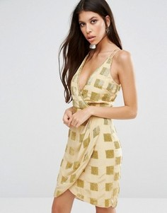 Платье с драпировкой спереди Virgos Lounge Aimee - Желтый
