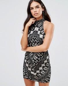 Кружевное платье с высокой горловиной Girl In Mind - Черный
