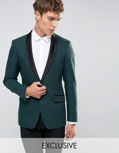 Облегающий пиджак для смокинга с атласными лацканами Number Eight Savile Row - Зеленый