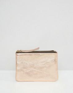Двойной кожаный кошелек с эффектом металлик ASOS - Медный