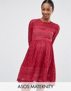 Приталенное кружевное платье-премиум для беременных АSOS Maternity - Красный