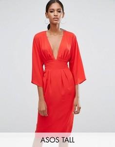 Платье миди с ремнем в стиле 70-х ASOS TALL - Красный