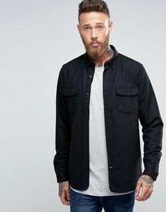 Полушерстяная рубашка слим Hoxton Shirt Company - Черный