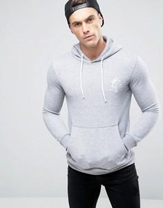 Облегающее худи с логотипом Gym King - Серый