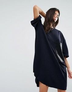 Блестящее платье-футболка с карманом из искусственной кожи Replay - Синий