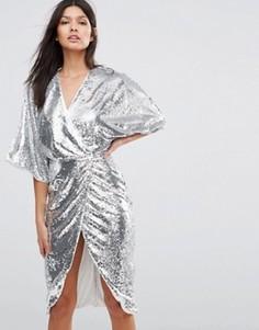 Платье миди с рукавами кимоно и отделкой пайетками Club L - Серебряный