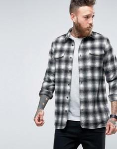 Рубашка узкого кроя в клетку Hoxton Shirt Company - Серый