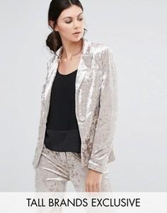 Бархатный пиджак True Decadence Tall - Розовый