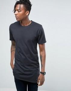 Удлиненная футболка с необработанным краем Only & Sons - Темно-синий