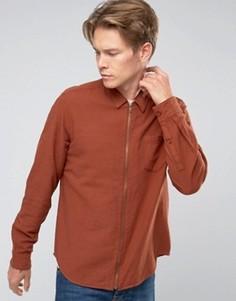 Красно-бурая рубашка стандартного кроя на молнии ASOS - Красный